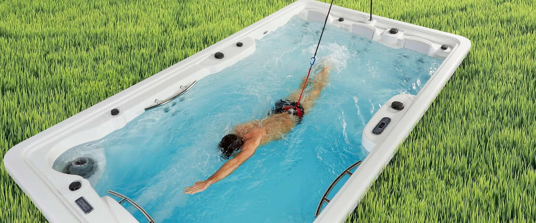 swim spa, basen, przeciwprąd, kompozytowy basen, gotowy, ogrodowy basen