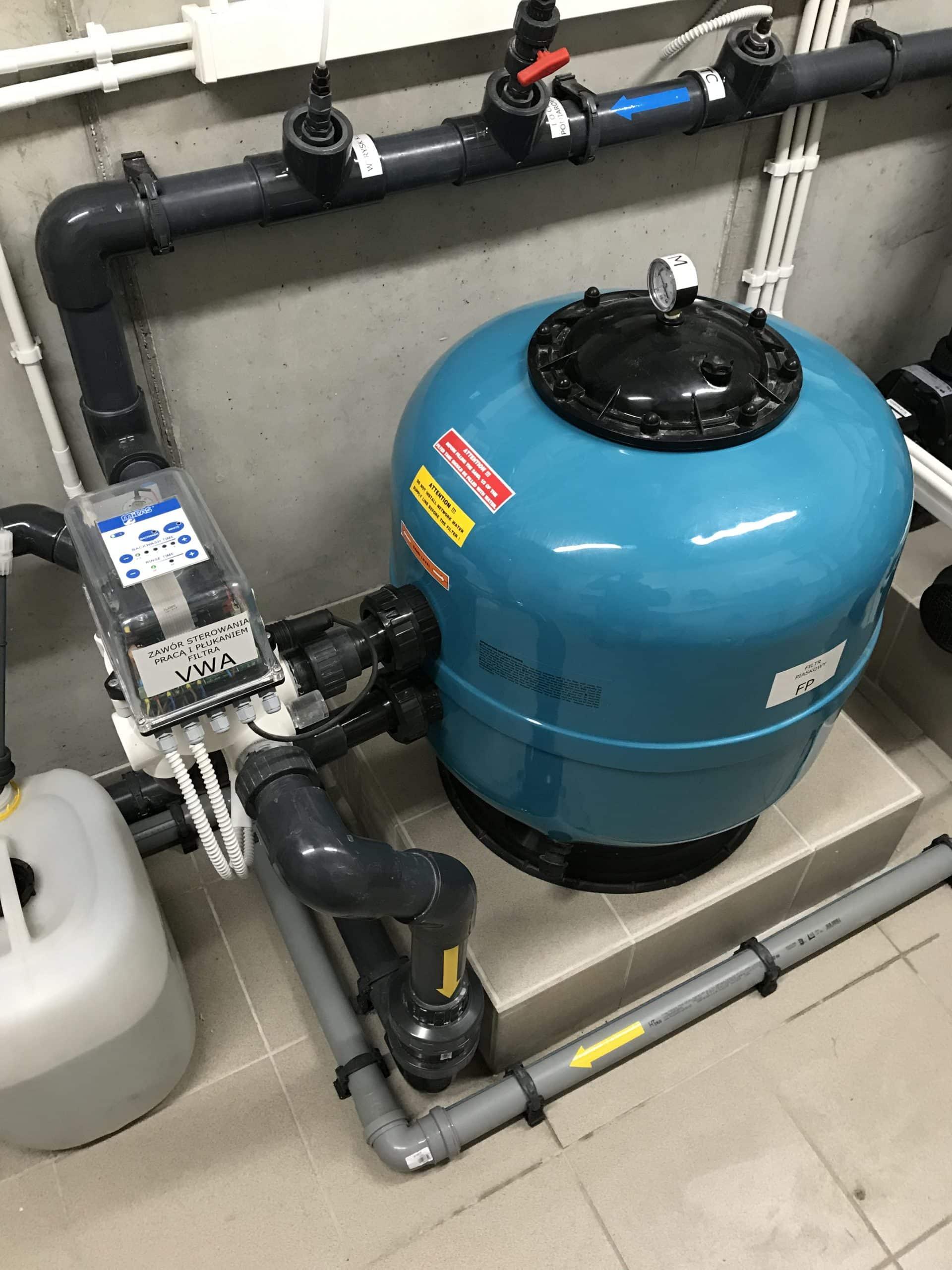 filtr, basen, automat, zawór płukania automatyczny, uzdatnianie wody, budowa basenu, chemia basenowa